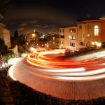 """Lombard Street at Night Fisheye"" by xof711"