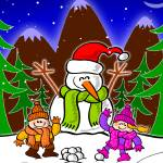 """Christmas Snow Man and Children"" by Zooco"
