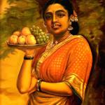 """Indian lady standing with fruits."" by vineethsn"