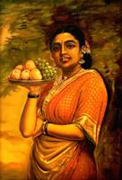 Indian lady standing with fruits.
