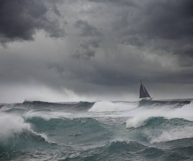 Boat In A Storm By John Lund