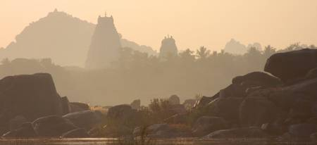 India Hampi  mysterious sunrise Panoramic