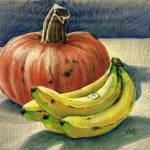 """Pumpkin and bananas still life"" by sboyle"