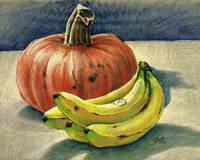 Pumpkin and bananas still life