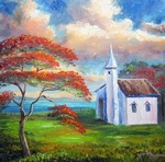 Old Church and Royal Poinciana Tree by Mazz Original Paintings