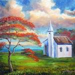 """Old Church and Royal Poinciana Tree"" by mazz"