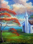 Royal Poinciana and Old Church by Mazz Original Paintings
