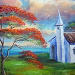 """Royal Poinciana and Old Church"" by mazz"