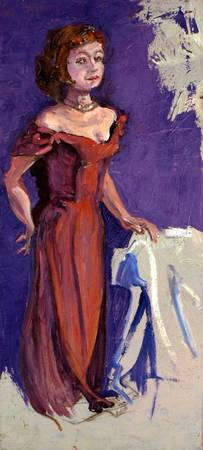 Standing Woman in Red Gown