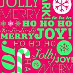 """falala holiday card typeography neon green pink-01"" by dancacioppo"