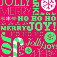 falala holiday card typeography neon green pink-01 Art Prints & Posters by Dan Cacioppo