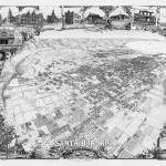 """Santa Barbara 1898 aerial BLack and White"" by lookbackart"