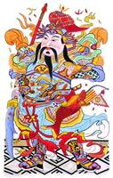 Chinese God with Fish