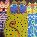 """Caprice Cats Acrylic Painting"" by SunfluerDesigns"