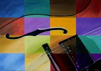 Multi-color painting of a Guitar