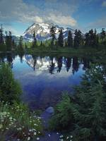Mount Shuksan reflected in Highwood Lake