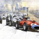 """Red Car Ferrari 801 German GP 1957"" by shevchukart"