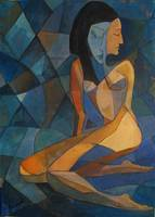 Young Girl Cubist Painting Gallery Art