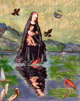 Floating Madonna: surreal digital image Christmas