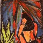 """Tahitian Madonna; hand-colored woodcut"" by Eliora"
