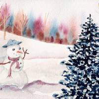 Snowman's Christmas Art Prints & Posters by Melanie Pruitt