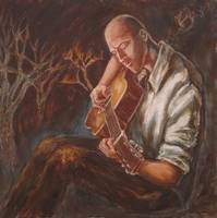 The Guitarist: man with flaming landscape
