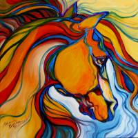 """SouthWest Abstract Horse M Baldwin Original Oil"" by MBaldwinFineArt2006"