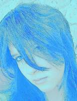 Girl with blue hair