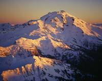 Aerial of Glacier Peak and Ridges at Sunset