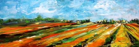 Fields of Tulips Panoramic by Ginette