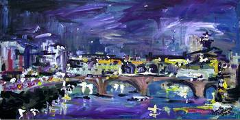 Night Bridge in Blue Modern Impressionist by Ginet