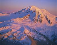 Aerial of Mount Baker in sunset light