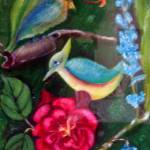 """Blue bird and red flower"" by Dorli"