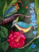 Blue bird and red flower
