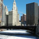 """Frozen Chicago River Downtown"" by nicelysighted"
