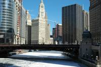 Frozen Chicago River Downtown