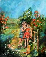 In The Rose Garden Oil Painting by Ginette