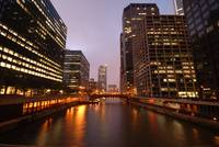 Chicago river twilight