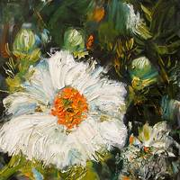 White Flower Oil Painting by Ginette Callaway
