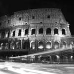 """Colosseum Nightime Rome Black and White close up"" by clarka"