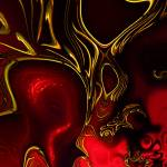 """Zizzago Art Abstract Red Gold Flame"" by shanmaree"