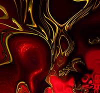 Zizzago Art Abstract Red Gold Flame
