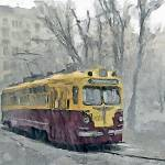 """Tram in the rain, 1960"" by piker77"
