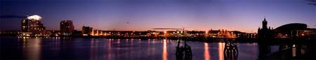 Cardiff Bay By Night Panoramic.