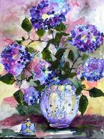 Blue Hydrangeas Flowers Still life by Ginette