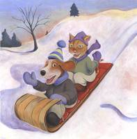 Dog and Cat Go Sledding by Matthew Finger