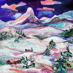 """Winter Wonderland Original Painting by GInette"" by GinetteCallaway"