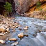 """The Virgin River Narrows, in Zion National Park"" by HiddenLightPhotography"