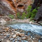 """Glowing Walls and Flowing Water, Zion"" by HiddenLightPhotography"