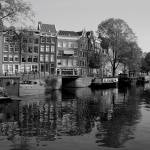 """Waterway in Amsterdam- Black and White"" by Marajo"